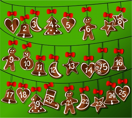 Christmas calendar with gingerbread Vector