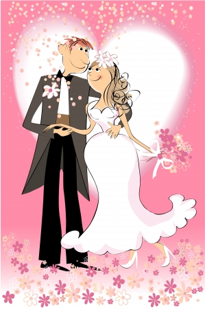 cartoon wedding couple: Wedding day
