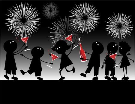 新年のパーティー  イラスト・ベクター素材