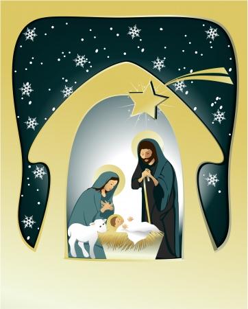 神聖な家族とキリスト降誕のシーン  イラスト・ベクター素材