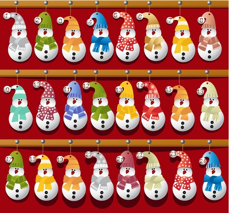 Christmas calendar with handcraft snowmen Иллюстрация