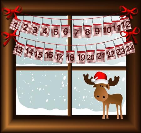 Christmas window with advent calendar Stock Illustratie
