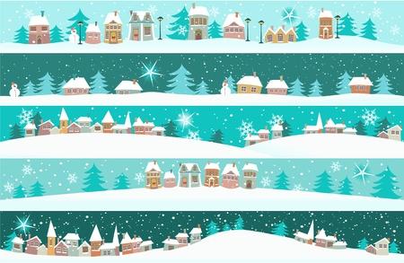paisajes: Banderas del invierno con las casas de dibujos animados Vectores