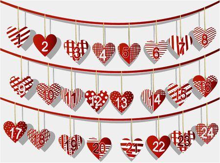 calendario diciembre: Calendario de Navidad con dulces corazones artesanía