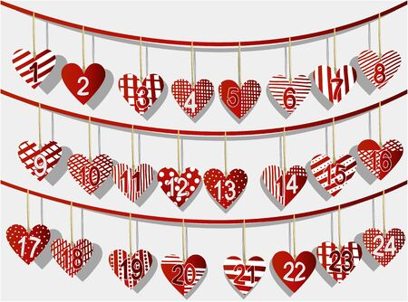advent: Christmas calendar with sweet handcraft hearts Illustration