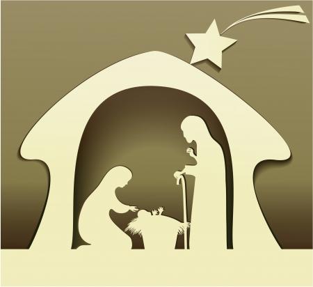 heilige familie: Krippe mit heiliger Familie