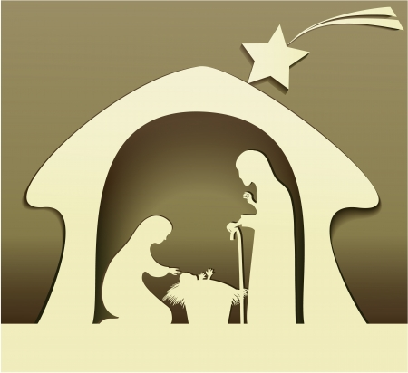 nacimiento de jesus: Pesebre con la Sagrada Familia