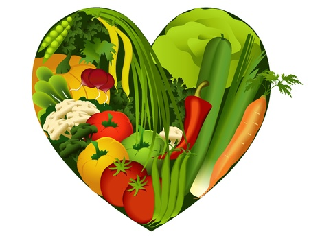 Vegetables in heart shape - diet products Vector