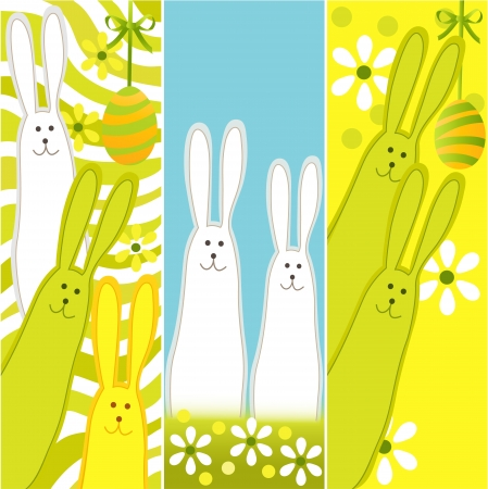 Easter banners with funny rabbits Vector