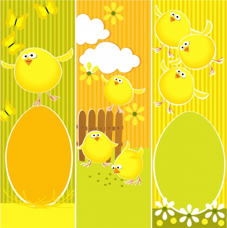 Easter banners with funny chickens Vector