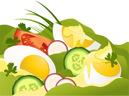 mayonnaise: Eggs with mayonnaise Illustration