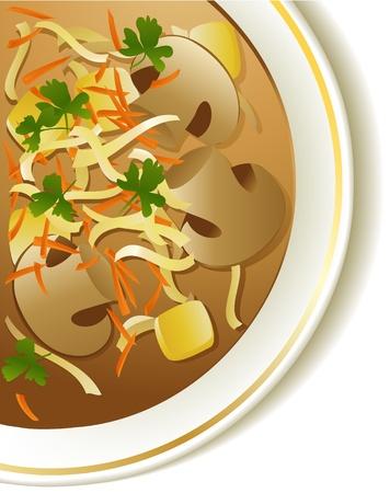 mushroom soup: Mushroom soup  Illustration