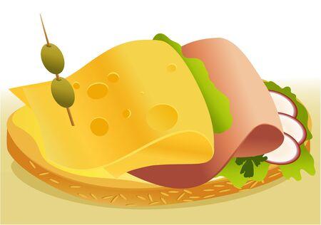 jamon y queso: Desayuno sándwich con queso y jamón Vectores