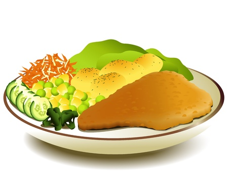 c�telette de porc: Repas chaud � la maison avec escalope Illustration