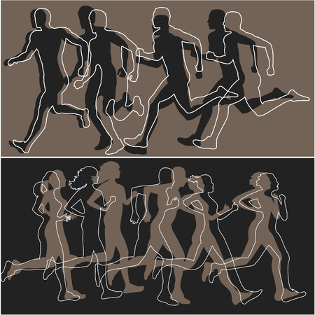 jogging in nature: Silhouettes of runners Illustration