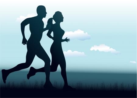 donna che corre: L'uomo e la donna in esecuzione insieme Vettoriali
