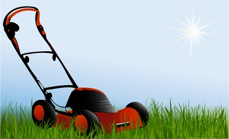mower: Nature background wih lawnmover
