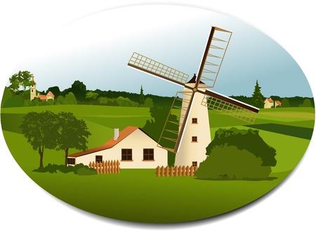 rural scene: Rural scene with windmill Illustration