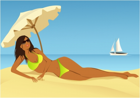 sun tanning: Cartoon summer background with young woman sunbathing on the beach