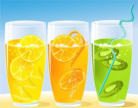 glass reflection: Summer fruit juice Illustration