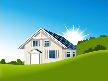 太陽熱コレクターの家  イラスト・ベクター素材