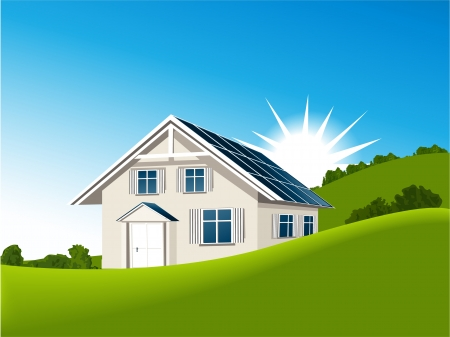 House with solar collectors Vector