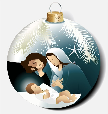 betlehem: Weihnachtskugel mit Heiligen Familie Illustration