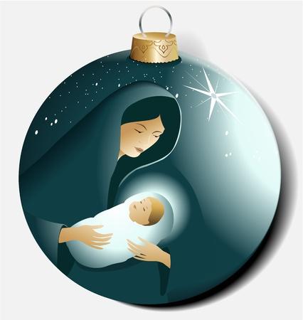 Kerst bal met Maria en Jezus Stock Illustratie
