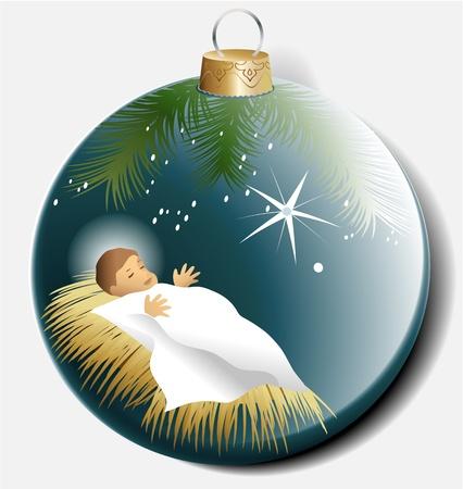 赤ん坊のイエスとクリスマス ボール