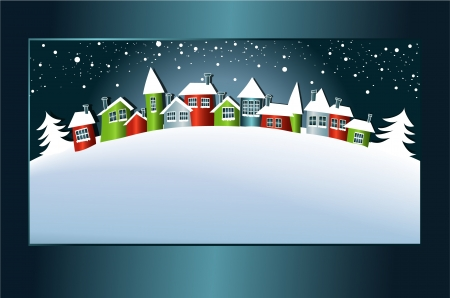 Winter background with cartoon houses  Vector