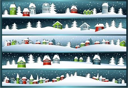 paisaje: Banderas del invierno con casas de dibujos animados