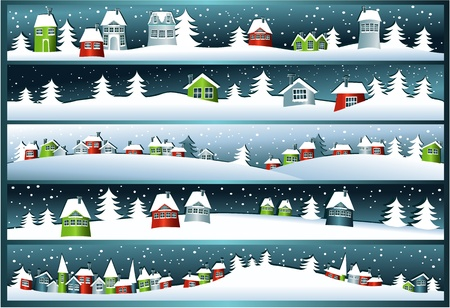 Winter banners with cartoon houses  Иллюстрация
