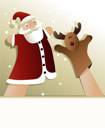 Christmas puppet show with Santa Claus Vector