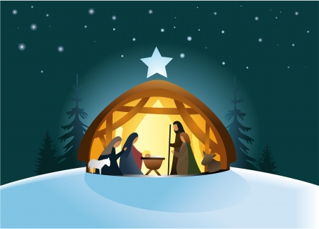 Nativity scene with Holy Family Illustration