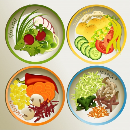 Four saesons plate Stock Vector - 23298372