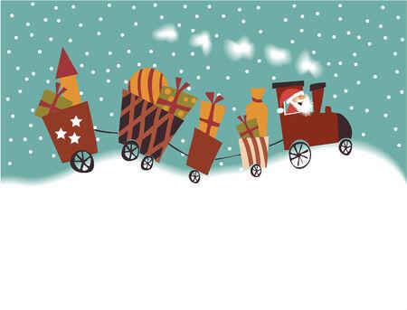estrella caricatura: Tren de la historieta de la Navidad Vectores