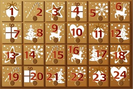 Adwentowy kalendarz Ilustracje wektorowe