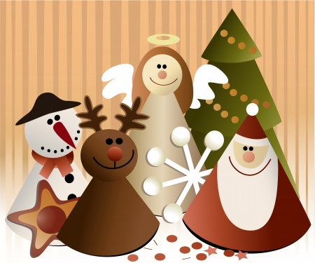 christmas tree illustration: Christmas paper decorations
