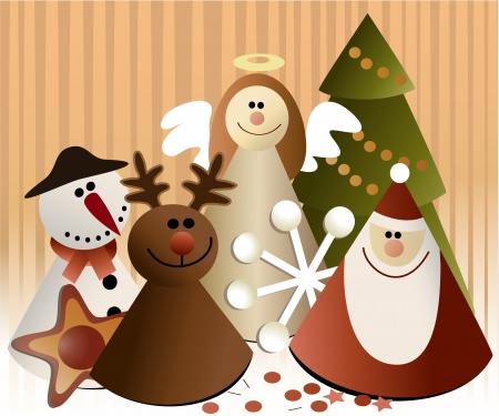 reno de navidad: Decoraciones de papel de la Navidad Vectores