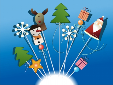 Christmas handcraft decorations on sticks  Vector