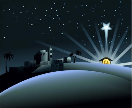jesus birth: Pesebre con la Sagrada Familia