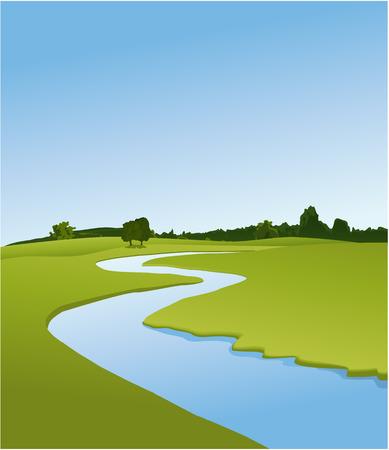 Landelijk landschap met rivier Stock Illustratie
