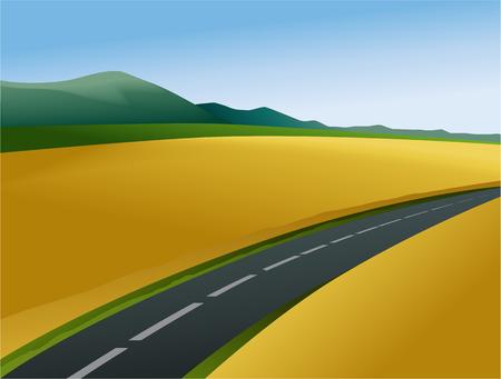 rural road: Rural landscape with road Illustration