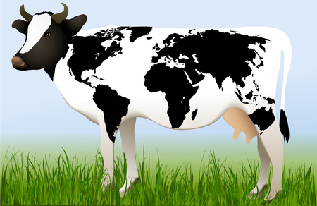 World map on cow