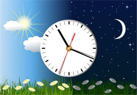 Day and night background with clock Иллюстрация