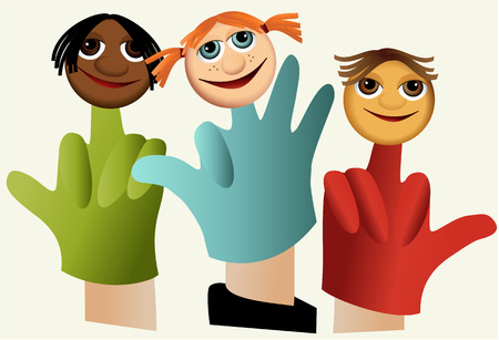 Hand puppets with children Illustration