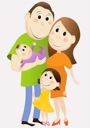 four people: Cartoon happy family