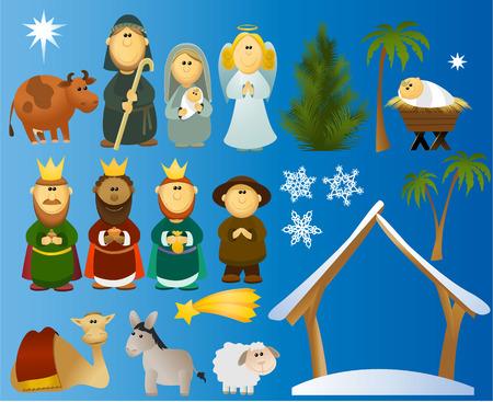 familia orando: Conjunto de elementos de la escena de Navidad