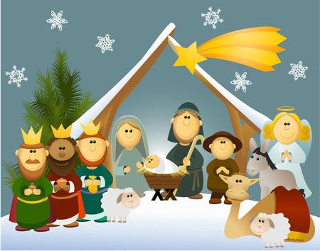 Cartoon crèche avec sainte famille Vecteurs