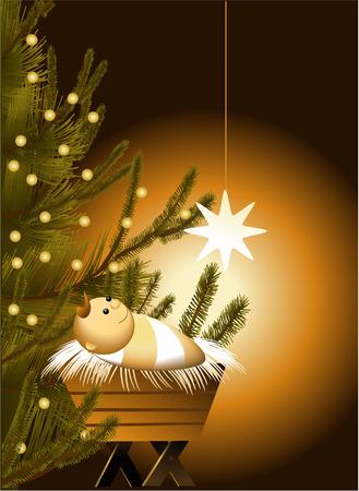 baby jesus: Christmas scene with baby Jesus